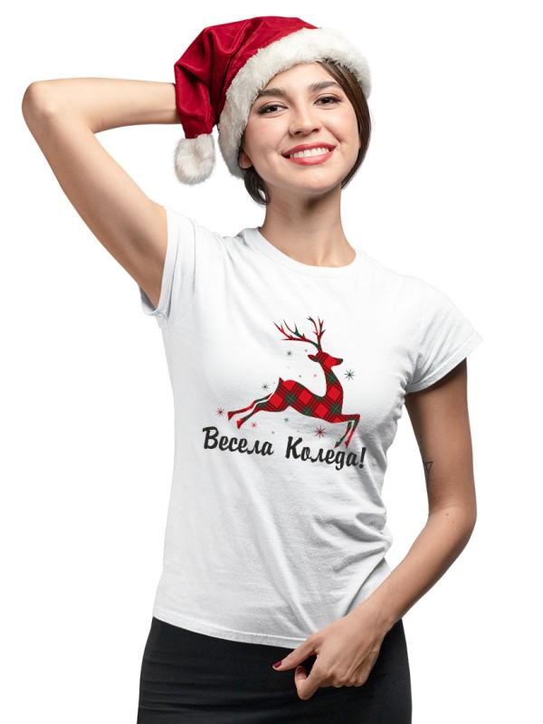 """Коледна тениска с еленче с надпис """"Весела Коледа"""""""