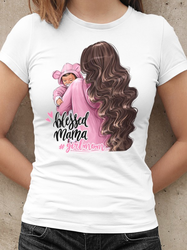 Дамска тениска - Мама и Мини - #girlmom Blessed mama