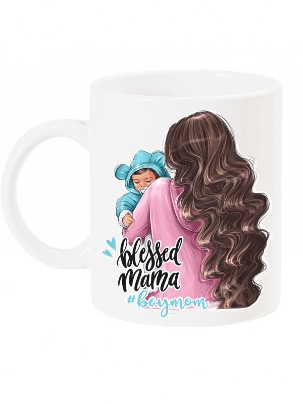 Чаша за мама с арт принт - Blessed mama - boymom