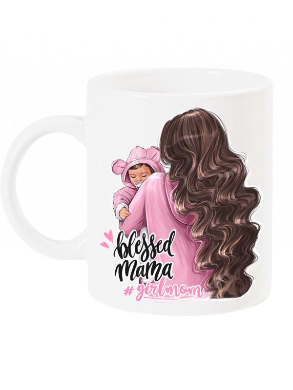 Чаша за мама с арт принт - Blessed mama - girlmom