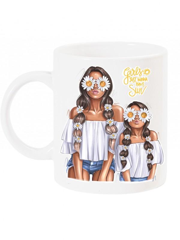 Чаша за мама с арт принт - Маргаритки