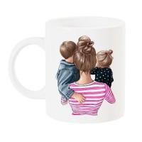 Чаша с арт принт за мама на момче и момиче