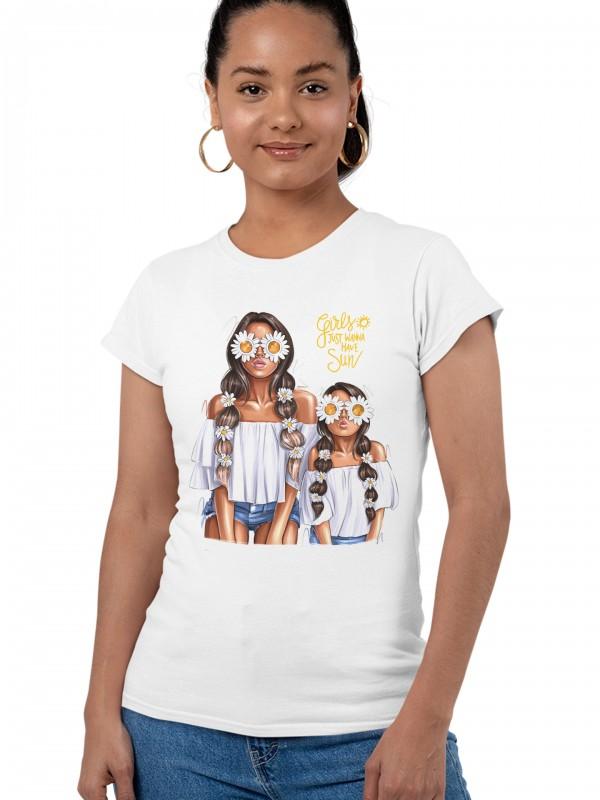 Дамска тениска Мама и Мини - Маргаритки