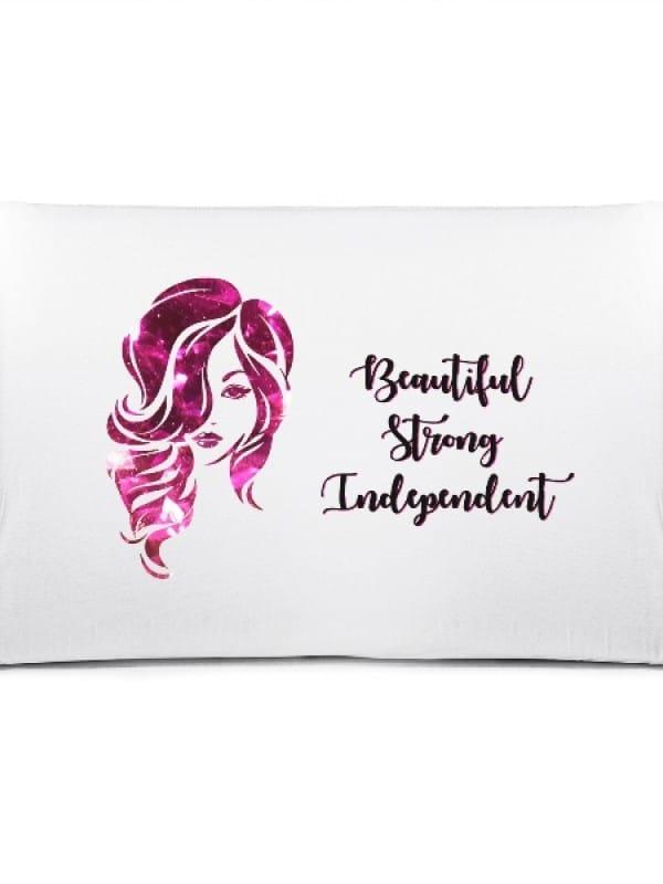 "Калъфка с надпис ""Beautiful Strong Independent"""