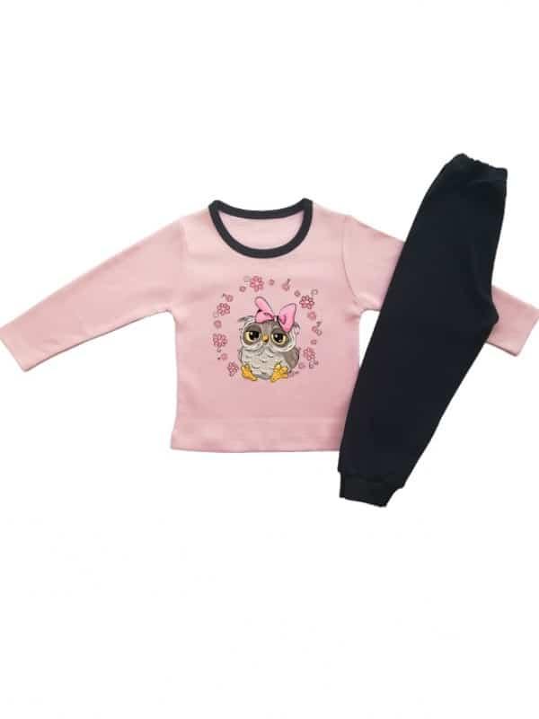 Детска пижама за момиченце с бухалче и венец