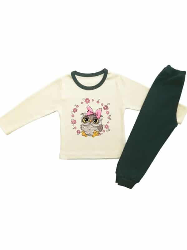 Детска пижама в екрю за момиченце с бухалче и венец