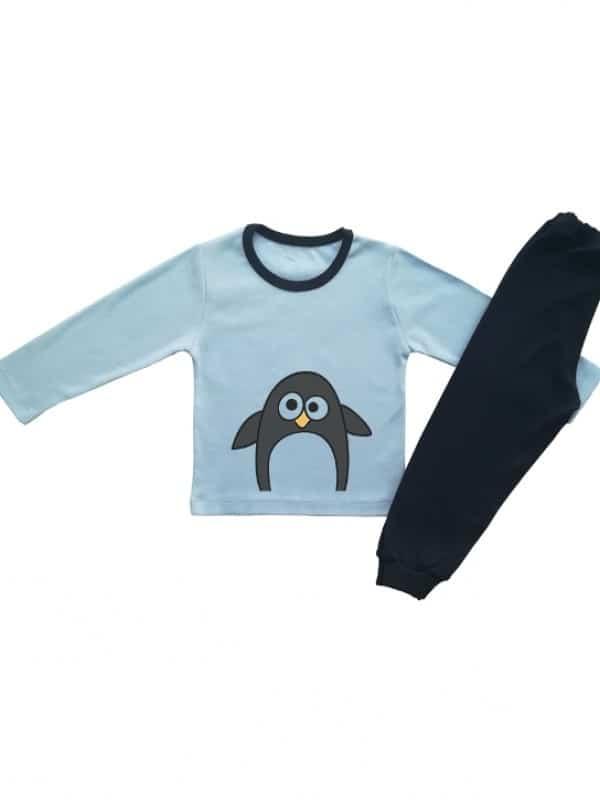 Детска пижамка синя за момче с пингвинче