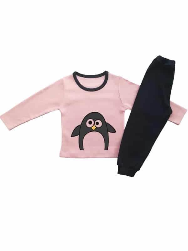Детска пижамка за момиче с пингвинче