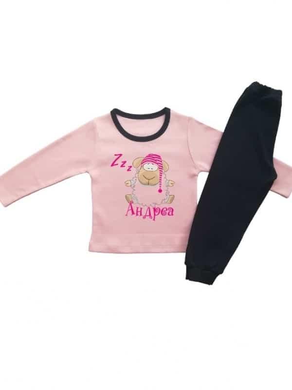 Детска пижамка за момиче спяща овчица и име