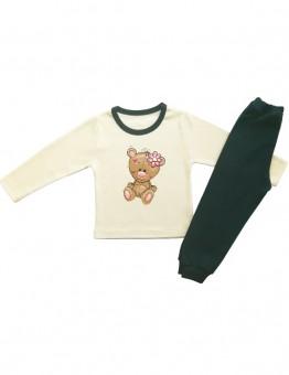 Детска пижама,екрю с мече  и цвете