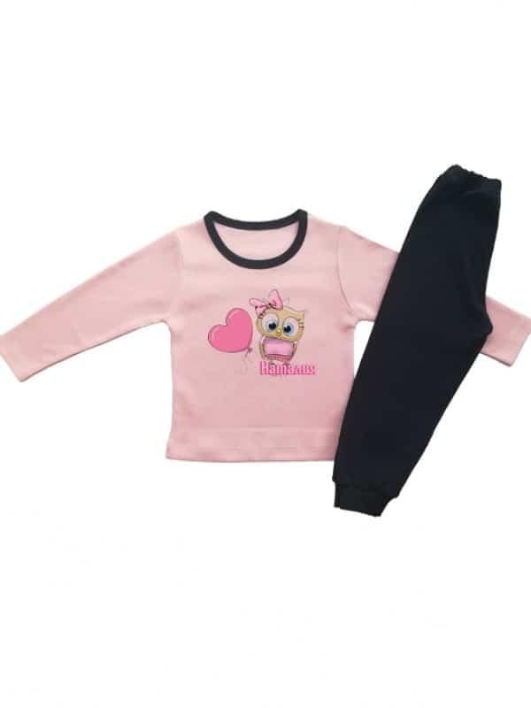 Детска пижамка за момиче с бухалче ,име и сърчице
