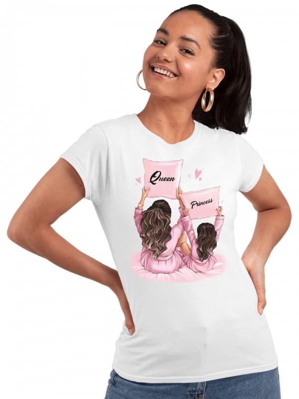 Дамска тениска Мама и Мини - Queen и Princess