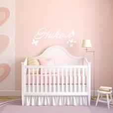 Стикер за детска стая - с име и пеперуди