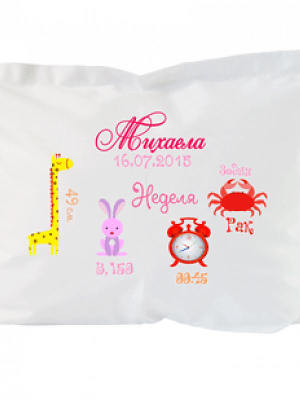 Персонализирана възглавничка за новородено бебе