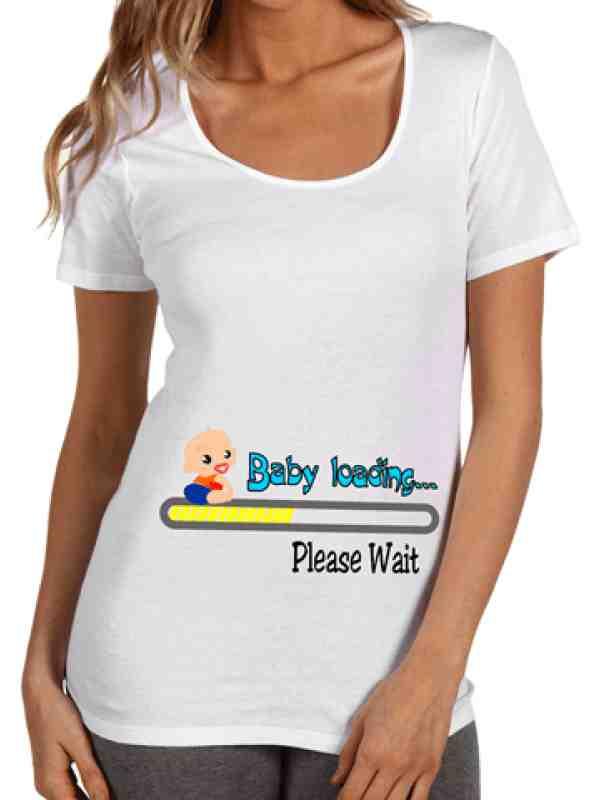 """Тениска за бременни ****  """"Baby loading"""" в син и жълт цвят"""