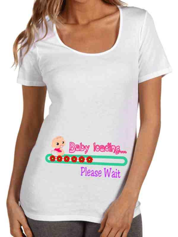 """Тениска за бременни Д003 ****  """"Baby loading"""" в розов цвят"""