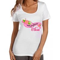 """Дамска тениска с надпис в розово """"Най-добрата ЛЕЛЯ"""""""