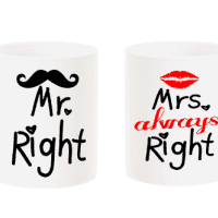 "Комплект чаши ""Mr. Right & Mrs. Always Alright"""