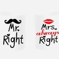 "Комплект чаши ""Mr. Right & Mrs. Always Alright"""