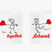 """Комплект чаши за влюбени """"Together forever"""""""