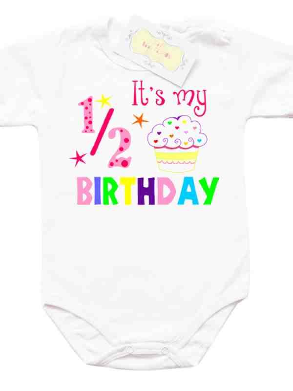 Забавно боди за 1/2 рожден ден за момиче