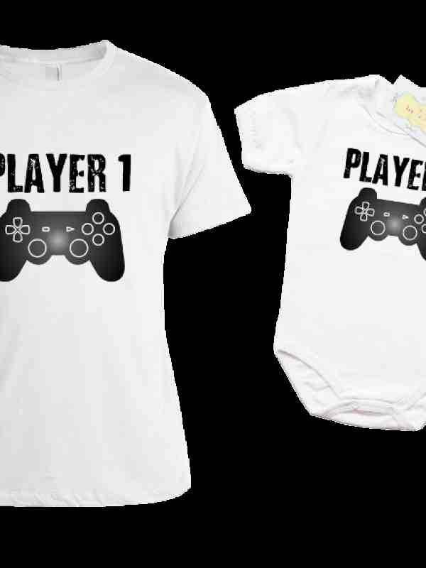 Комплект боди и тениска с щампа на PLAYER 1 /PLAYER 2