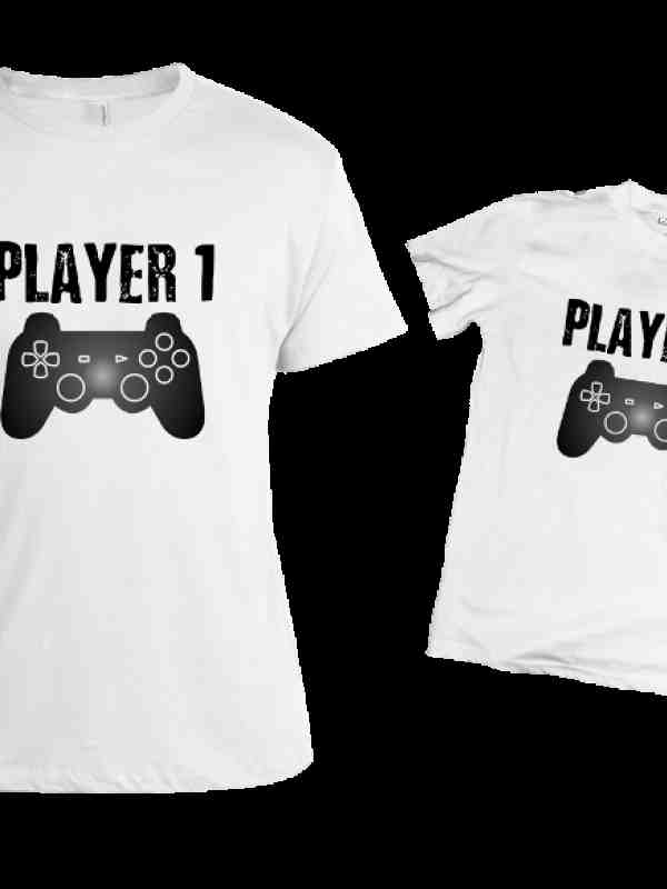 Комплект тениски за баща и син PLAYER 1/PLAYER 2