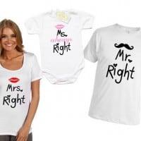 Комплект семейни тениски и боди с щампа MR RIGHT/MRS RIGHT/MS ALWAYS RIGHT