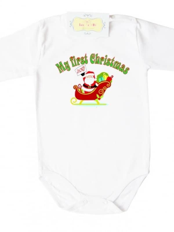 """Коледно боди с надпис на английски """"My First Christmas"""""""