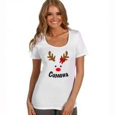 Коледна дамска тениска еленче с име