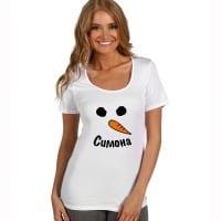 Коледна дамска тениска снежен човек с име