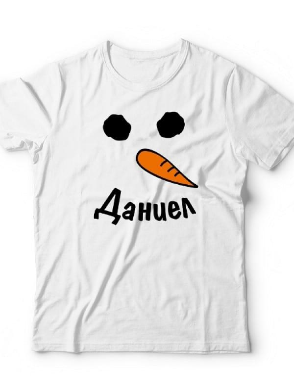 Детска коледна тениска снежен човек и име
