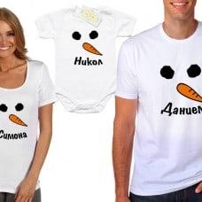 Семеен коледен комплект снежен човек и име