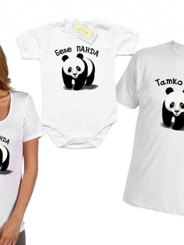 Комплект семейни тениски с панда