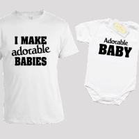 Комплект за татко и бебо с щампа на английски език